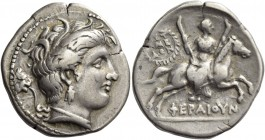 Thessalia, Pherae. Stater circa 302-286, AR 11.31 g. Head of nymph Hipereia r., wearing wreath of reeds, triple-pendant earring and pearl necklace; be...