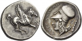 Illyria, Dyrrachium. Stater after 350, AR 8.63 g. Pegasus flying r. Rev. ΔΥΡΡΑΧΙΝΩΝ Head of Athena l., wearing Corinthian helmet; behind, Σ and club. ...