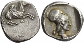 Epirus, Ambracia. Stater circa 480-456, AR 8.37 g. Pegasus flying r.; below, Λ. Rev. Head of Athena l., wearing Corinthian helmet; all within partiall...