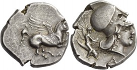 Epirus, Ambracia. Stater circa 360-338, AR 8.50 g. Pegasus flying r.; below, A. Rev. Head of Athena r., wearing Corinthian helmet; behind, youthful wi...