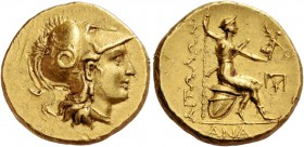 Aetolia, Aetolian League. Stater 275-245, AV 8.53 g. Head of Athena r., wearing crested Corinthian helmet; bowl decorated with coiled snake. Rev. ΑΙΤΩ...