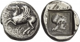 Corinthia, Corinth. Drachm 525-500, AR 2.62 g. Pegasus flying l.; below, ?. Rev. Head of Athena l., wearing Corinthian helmet and pearl necklace. All ...