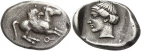 Corinthia, Corinth. Drachm 350-300, AR 2.78 g. Pegasus flying r.; below, ?. Rev. Head of Aphrodite l., hair bound with taenia; all within incuse squar...