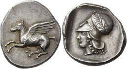 Corinthia, Corinth. Stater circa 430, AR 8.57 g. Pegasus flying r.; below, ?. Rev. Head of Athena l., wearing wreathed Corinthian helmet; all within p...