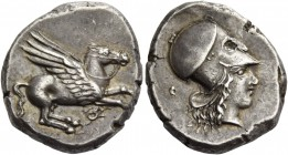 Corinthia, Corinth. Stater circa 410-380, AR 8.57 g. Pegasus flying r.; below, ?. Rev. Head of Athena r., wearing Corinthian helmet. Calciati –. Ravel...