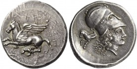 Corinthia, Corinth. Stater circa 410-380, AR 8.62 g. Pegasus flying l.; below q. Rev. Head of Athena r., wearing Corinthian helmet; behind, horse fore...