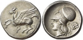 Corinthia, Corinth. Stater circa 330, AR 8.60 g. Pegasus flying l.; below, ?. Rev. Head of Athena l., wearing Corinthian helmet; behind, E rose. SNG F...