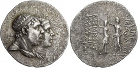 Kings of Pontus, Mithradates IV, circa 170/169 – 150. Tetradrachm circa 169-150, AR 15.99 g. Diademed and draped busts r. of Mithradates IV and Laodic...