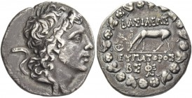 Mithradates VI Eupator, 120 – 63. Drachm 96/95, AR 4.00 g. Diademed head r. Rev. ΒΑΣΙΛΕΩΣ Stag grazing l.; to l., star over crescent and, in exergue, ...