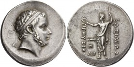 Kings of Bythinia, Prusias I, circa 230 – 182. Tetradrachm circa 230-182, AR 16.95 g. Diademed head r. Rev. ΒΑΣΙΛΕΩΣ / ΠΡΟΥΣΙΟΥ Zeus standing l., hold...