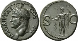 In the name of Agrippa. As after 37, Æ 11.44 g. M AGRIPPA L – F COS III Head l., wearing rostral crown. Rev. S – C Neptune, cloaked, standing l. holdi...