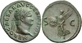 Nero augustus, 54 – 68. As circa 65, Æ 10.09 g. NERO CAESAR AVG GERM IMP Laureate head r. Rev. S – C Victory flying l., holding in both hands shield i...