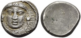Etruria, Populonia. 20 units circa 300-250 BC, AR 8.19 g. Facing head of young Hercules, wearing lion's skin; at sides, [X – X]. Rev. Blank. EC 65.97 ...