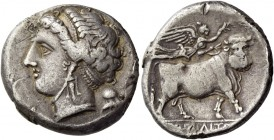 Campania, Neapolis. Didrachm circa 275-250 BC, AR 7.15 g. Diademed head of nymph l. Rev. Man-headed bull r., crowned by Nike flying above. Sambon 535....