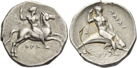 Calabria, Tarentum. Nomos circa 340-325 BC, AR 7.97 g. Naked youth on horse galloping r., raising whip with r. hand and holding reins in l. Rev. Oecis...
