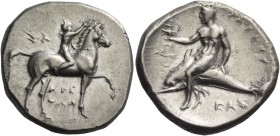 Calabria, Tarentum. Nomos circa 302-280 BC, AR 7.71 g. Boy rider r., crowning his horse; above, ΣΑ and below horse, ΑΡΕ / ΘΩΝ. Rev. Dolphin rider l., ...