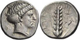 Metapontum. Nomos circa 400-340 BC, AR 7.83 g. Head of Demeter r., wearing sphendone. Rev. Barley ear. Noe 511. Historia Numorum Italy 1538. Very rare...