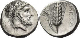 Metapontum. Nomos circa 330-320 BC, AR 7.87 g. Laureate head of Zeus r. Rev. Ear of barley with leaf to l., upon which, crouching Silenus; below, [AΔ]...