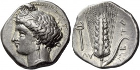 Metapontum. Nomos circa 340-330 BC, AR 7.83 g. Head of Demeter l., hair tucked up under barley wreath. Rev. Barley-ear; in l. field, caduceus. Johnsto...