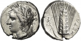 Metapontum. Nomos circa 330-290 BC, AR 7.86 g. Head of Demeter l., wearing earring and barley wreath. Rev. Ear of barley, with leaf to l., upon which,...