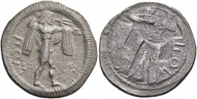 Poseidonia. Drachm circa 530-500, AR 3.62 g. Poseidon advancing r., naked but for chlamys over shoulders, brandishing trident. Rev. The same type part...
