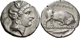 Thurium. Dinomos circa 400-350 BC, AR 15.59 g. Head of Athena r., wearing Attic helmet decorated with Scylla. Rev. Bull butting r.; in exergue, fish. ...