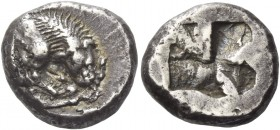 Velia. Drachm circa 535-465 BC, AR 3.87 g. Forepart of lion r., tearing stag's leg. Rev. Quadripartite incuse square. Babelon, RN 1912, pl. V, 14 (the...