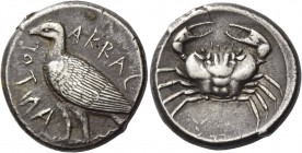 Sicily, Agrigentum. Tetradrachm circa 460 BC, AR 17.28 g. Eagle, with closed wings, standing l. Rev. Crab. SNG Ashmolean 1670. SNG Lloyd 800. SNG ANS ...