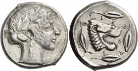 Leontini. Tetradrachm circa 440-430 BC, AR 17.31 g. Laureate head of Apollo r. Rev. Lion's head r. with tongue protruding; around, four barley grains....