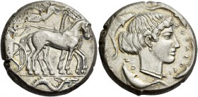 Syracuse. Tetradrachm circa 450-440 BC, AR 17.06 g. Charioteer driving slow quadriga r.; above, Nike flying r., crowning horses. In exergue, sea monst...