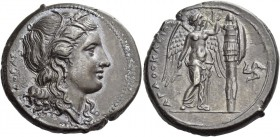 Syracuse. Tetradrachm circa 310-304 BC, AR 16.37 g. Head of Kore-Persephone r., wearing barley wreath, earring and necklace. Rev. Nike, naked to hips,...