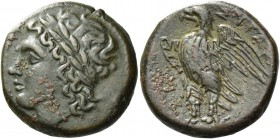 Syracuse. Bronze circa 287-278, Æ 7.39 g. Laureate head of Zeus Hellanios l. Rev. Eagle l. on thunderbolt, with spread wings. SNG Morcom 782. SNG ANS ...