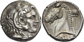 The Carthaginians in Italy and Sicily. Tetradrachm, Entella (?) circa 320-300 BC, AR 17.00 g. Head of Heracles-Melqart r., wearing lion's skin headdre...