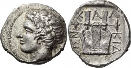 Macedonia, Olinthus. Tetradrachm circa 420-417 BC, AR 13.18 g. Laureate head of Apollo l. Rev. Six-stringed cithara. Robinson-Clement pl. III, A2 / P3...