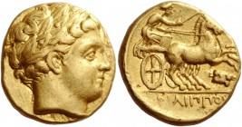 Kings of Macedonia, Philip II 359 – 336 and posthumous issues. Stater, Amphipolis circa 340/336-328 BC, AV 8.58 g. Laureate head of Apollo r. Rev. Nik...