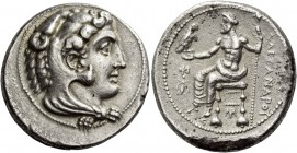 Kings of Macedonia, Alexander III, 336 – 323 and posthmous issues. Tetradrachm, Myriandrus circa 325-323 BC, AR 16.76 g. Head of Heracles r., wearing ...