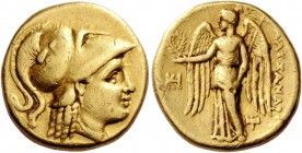 Kings of Macedonia, Alexander III, 336 – 323 and posthmous issues. Stater Miletus circa 323-319 BC, AV 8.55 g. Head of Athena r., wearing Corinthian h...