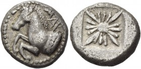 Thrace, Maroneia. Drachm circa 510-490 BC, AR 3.67 g. Forepart of horse l. Rev. Star within incuse square. Traité pl. LVII, 8. Boston 805. May, NC 196...