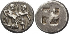Islands off Thrace, Thasos. Stater circa 525-463 BC, AR 9.08 g. Naked ithyphallic satyr supporting nymph under thighs with r. arm, the l. hand under h...