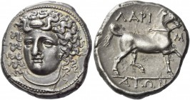 Thessaly, Larissa. Didrachm 350-340 BC, AR 12.29 g. Head of nymph Larissa facing three-quarters l., wearing ampyx, earring and necklace. Rev. Bridled ...