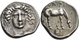 Thessaly, Larissa. Drachm 348-336 BC, AR 6.04 g. Facing head of nymph, slightly r. Rev. Horse grazing r. BCD Thessaly 246 (this obverse die). Lorber 6...