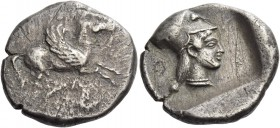 Acarnania, Leucas. Stater circa 480 BC, AR 8.33 g. Pegasus flying r. Rev. Head of Athena r., wearing Corinthian helmet; all within incuse square. Calc...