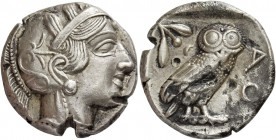 Attica, Athens. Tetradrachm after 449 BC, AR 17.12 g. Head of Athena r., wearing Attic helmet decorated with olive leaves and palmette. Rev. Owl stand...