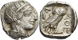 Attica, Athens. Tetradrachm after 449 BC, AR 16.70 g. Head of Athena r., wearing Attic helmet decorated with olive leaves and palmette. Rev. Owl stand...