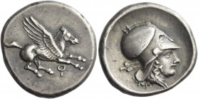 Corinthia, Corinth. Stater circa 405-345 BC, AR 8.51 g. Pegasus flying r. Rev. Head of Athena r., wearing Corinthian helmet; in l. field, trident. Rav...