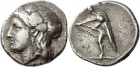 Crete, Cydonia. Stater circa 320-270 BC, AR 10.86 g. Head of Maenad l., wearing ivy wreath. Rev. The hero Kydon stan­ding l., stringing bow. Svoronos ...