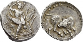Gortyna. Stater circa 330-270 BC, AR 11.43 g. Europa, nude to the waist, seated facing in tree, raising her veil with r. hand and holding in l. arm an...