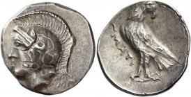 Itanus. Stater circa 350-320 BC, AR 11.44 g. Head of Athena l., wearing crested Attic helmet decorated with two olive leaves and palmette. Rev. Eagle ...