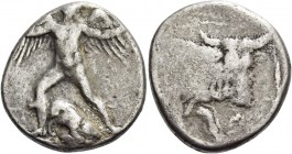 Phaestus. Stater circa 350-330 BC, AR 11.82 g. Talos standing facing, with spread wings and head r., extending his l. and hurling a stone with his r.;...