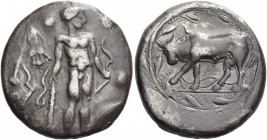 Phaestus. Stater circa 330-320 BC, AR 11.59 g. Nude Heracles standing r., holding club and bow; in l. field, lion's skin draped over a tree. Rev. Bull...